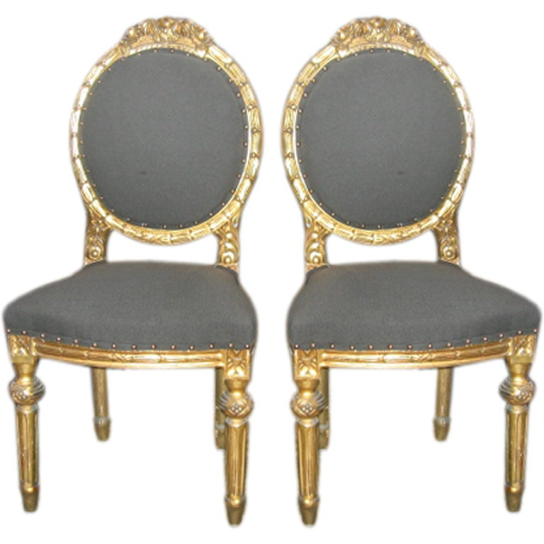 Louis XVI Style Pair of Gilt Side Chairs in 24-Karat Gold Leaf 1