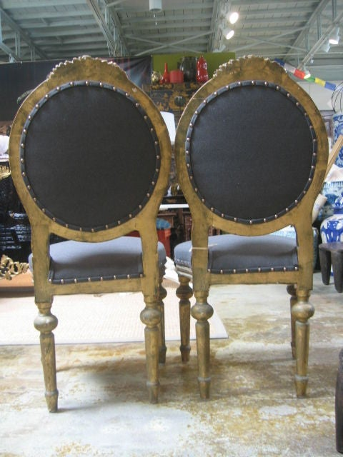Louis XVI Style Pair of Gilt Side Chairs in 24-Karat Gold Leaf 6