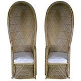 Pair of Chic Bamboo Hood Chairs