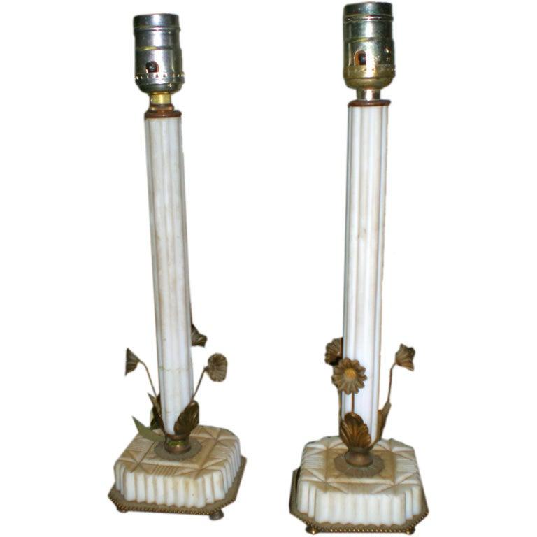 Vanity Lamps Vintage : Pair of Vintage Fluted Marble Vanity Lamps with Metal Flowers at 1stdibs