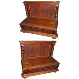 Pair of 19th c. French Carved Settles w/ Barley Twist Columns
