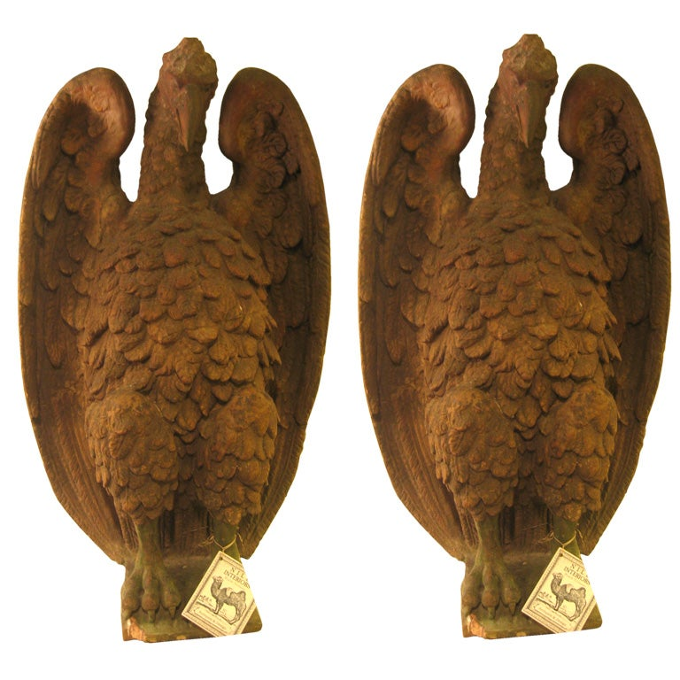 An Important Pair of French 18th c. Terra Cotta Eagle Sculptures 1