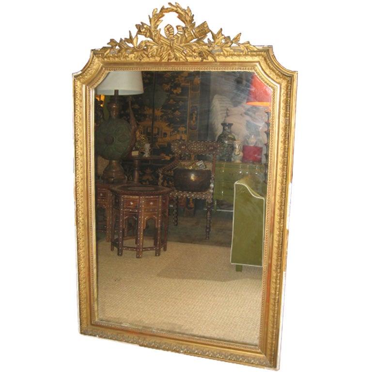 19th c. French Louis XVI Gilt Dore Wood Mirror