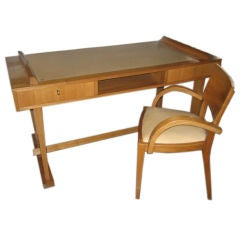 1940's French Desk and Chair in Elmwood & Leather Accents