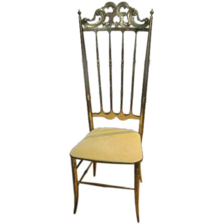 1950 39 s brass high backed vanity chair at 1stdibs - Tall vanity chair ...