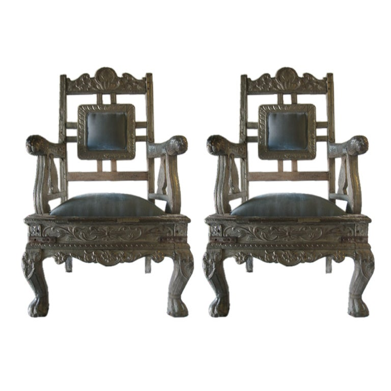 Pair of 19th c. Indian Raj Chairs with silver overlay