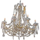 Six Crystal and Bronze Chandeliers