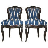 Pair of  19th c. Rococo Mahogany Chairs in IKAT Fabric
