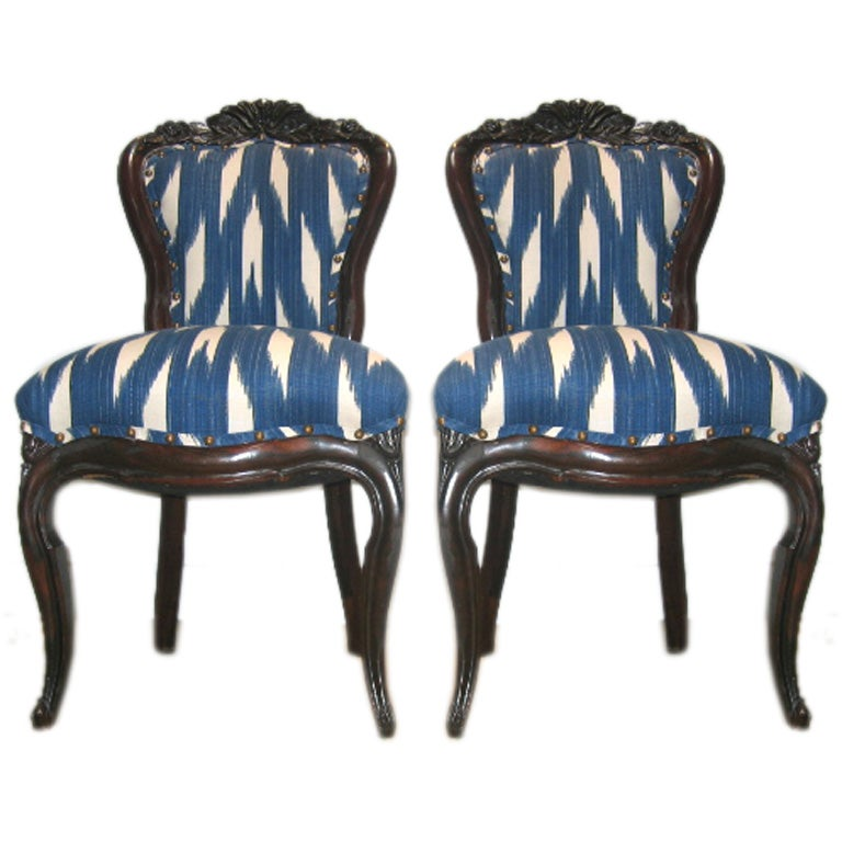 Pair of 19th c Rococo Mahogany Chairs in IKAT Fabric at