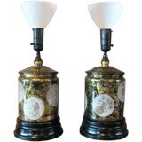 Pair of Roman coin lamps in the style of Piero Fornasetti