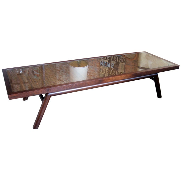 Mahogany Coffee Table With Cane Inset By T H Robsjohn Gibbings At 1stdibs