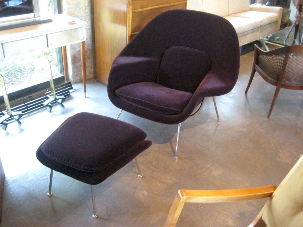 womb chair and ottoman in merlot mohair by eero saarinen at 1stdibs