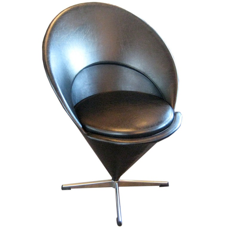 original black vinyl cone chair by verner panton at 1stdibs. Black Bedroom Furniture Sets. Home Design Ideas