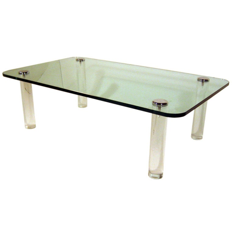 Glass Coffee Table With Lucite Legs At 1stdibs