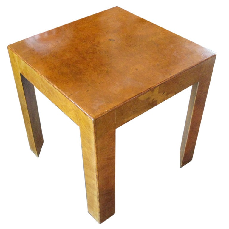 Small Italian Burl Wood Parsons Table For Sale