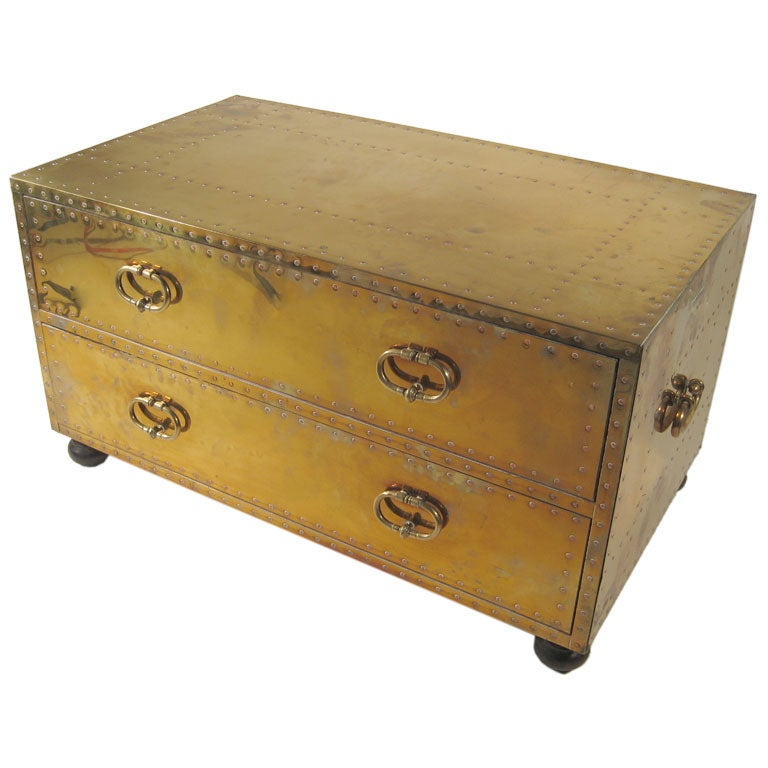 brass chest of drawers by Sarreid