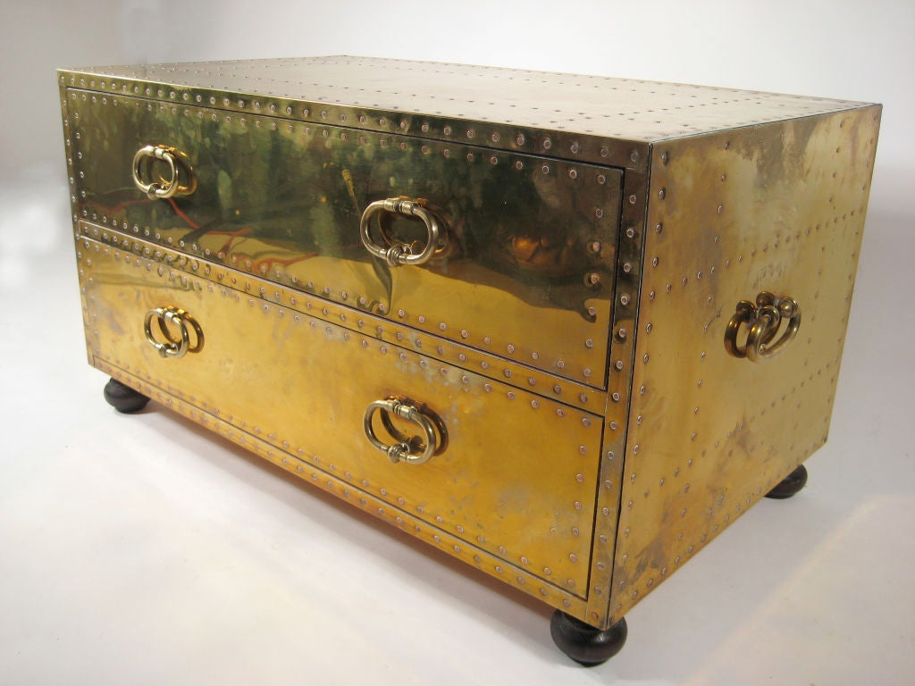 Brass Chest Of Drawers By Sarreid At 1stdibs