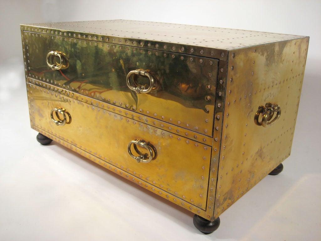 Brass clad chest with walnut feet by Sarreid, ltd.