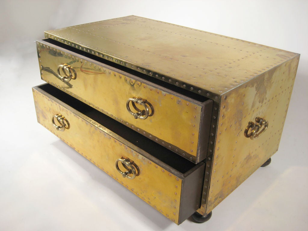 American brass chest of drawers by Sarreid