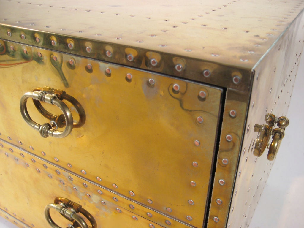 Mid-20th Century brass chest of drawers by Sarreid