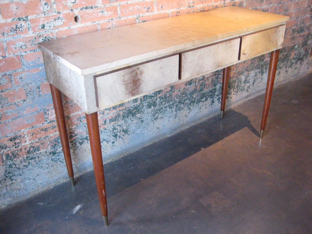 Parchment Covered Console Table With Mahogany Legs At 1stdibs
