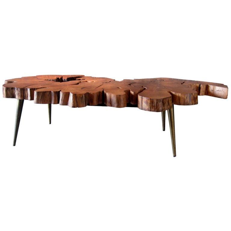 Adirondack Rustic Free Edge Slab Table For Sale At 1stdibs: Free Edge Cyprus Slab Table With Brass Legs At 1stdibs