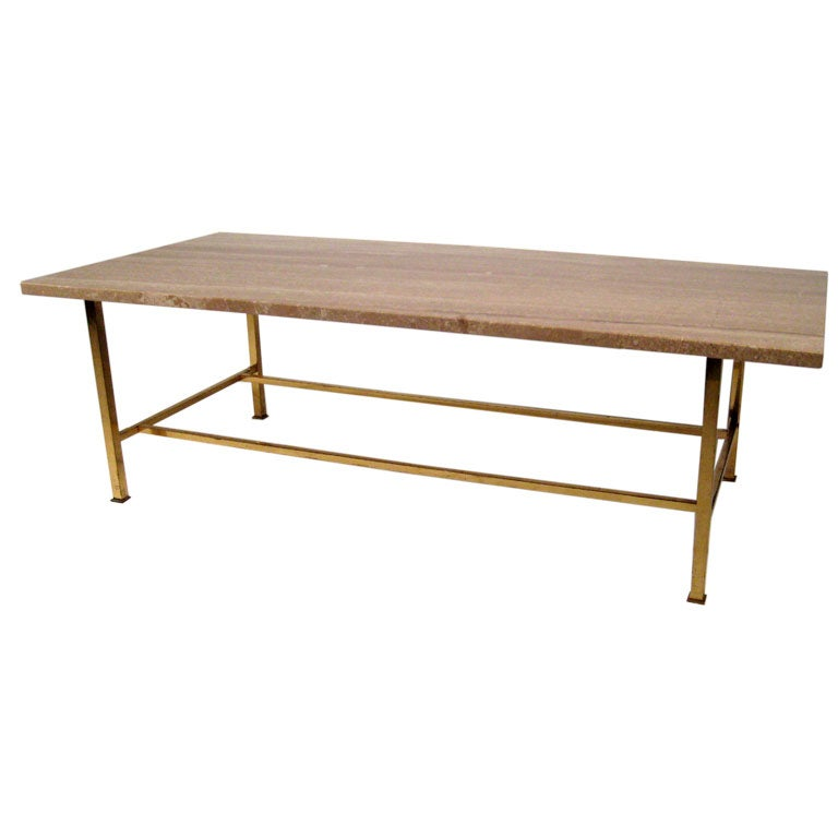 Brass And Stone Coffee Table By Harvey Probber At 1stdibs