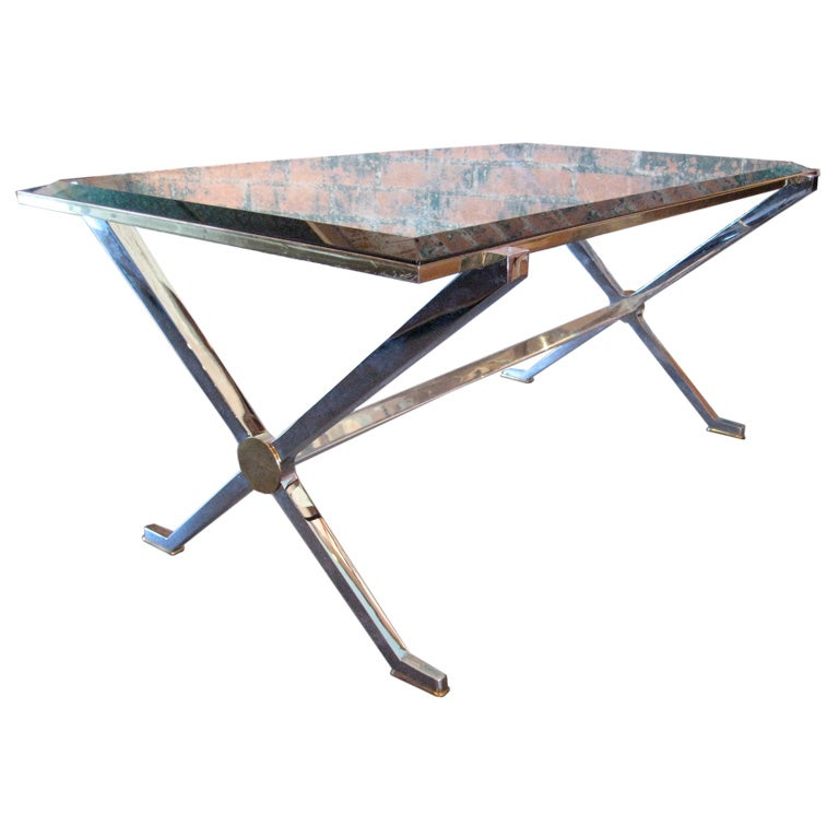 Chrome X Frame Coffee Table: Img_4235.jpg
