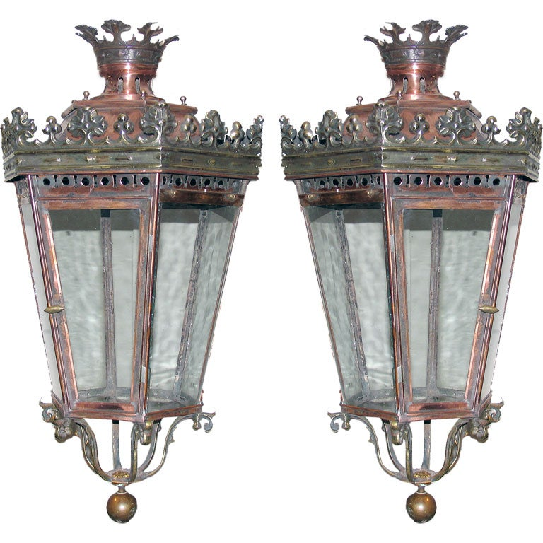 Pair Of French Copper Brass And Steel Hanging Lanterns At
