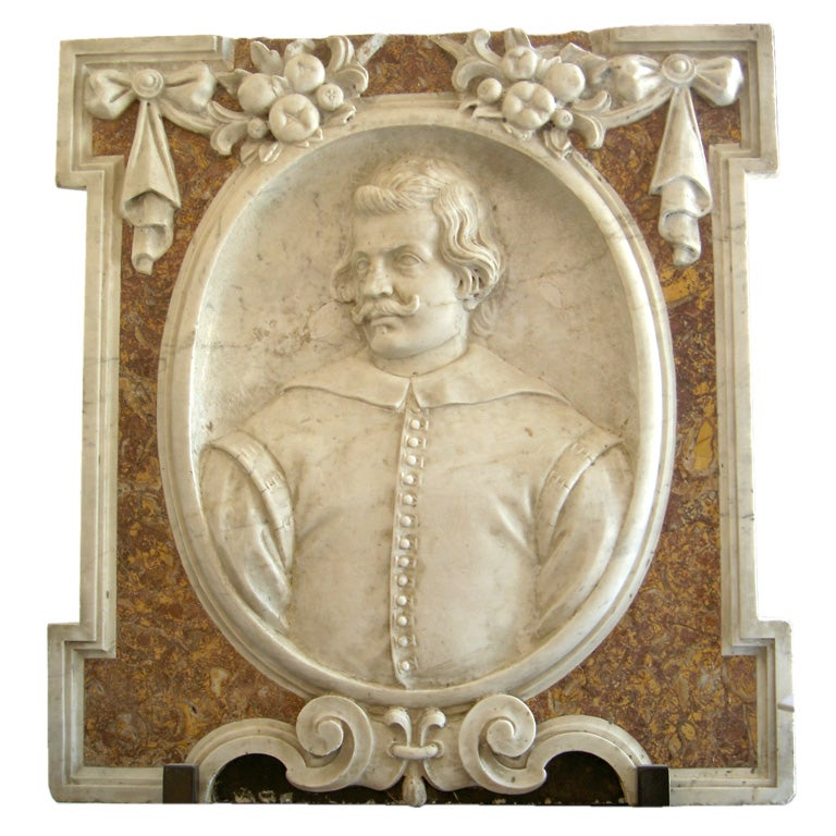 A southern italian architectural marble relief carving at