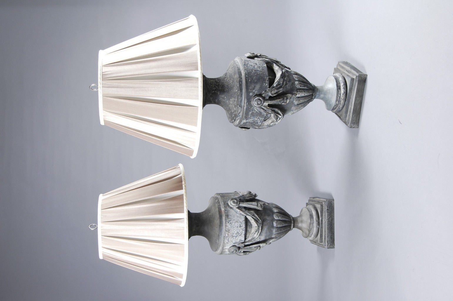 A Pair of Large Scaled Zinc Urn Lamps