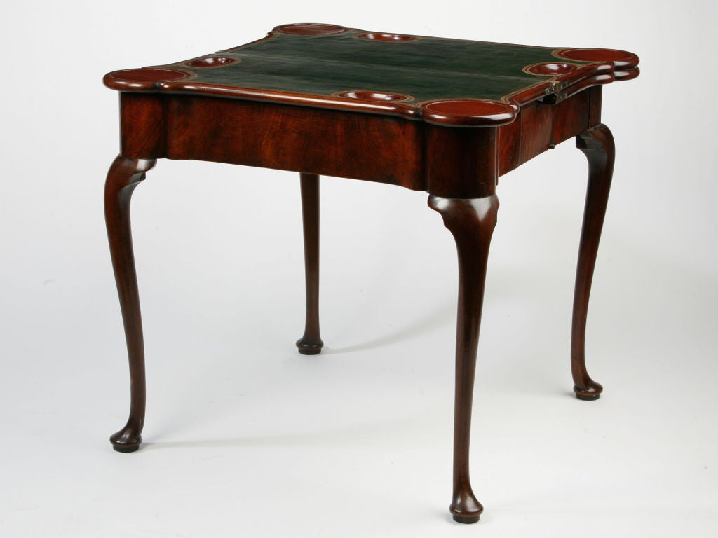 George II Concertina Action Triple Top Card/Tea Table In Excellent Condition For Sale In Norwalk, CT