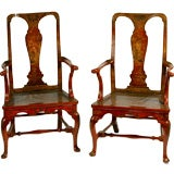 Pair of English Red Lacquer Queen Anne Armchairs