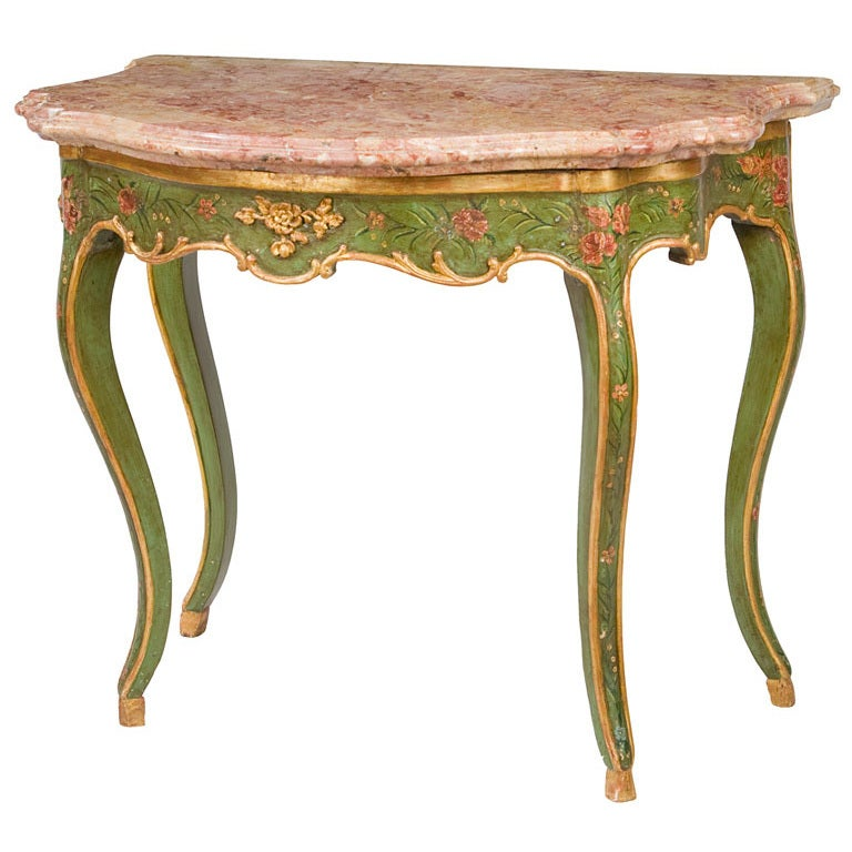 Venetian Marble Top Painted Console