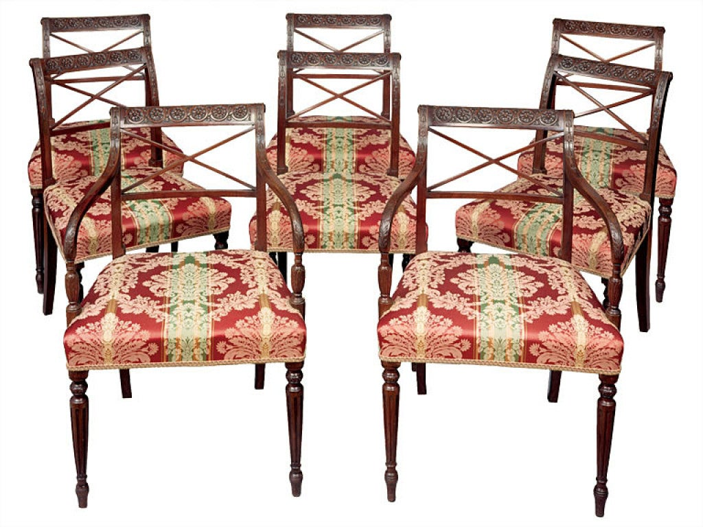 Set of Eight English Neoclassical Dining Chairs 2