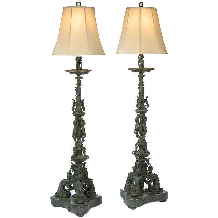 Pair Of Italian Renaissance Revival Bronze And Marble Floor Lamp At 1stdibs