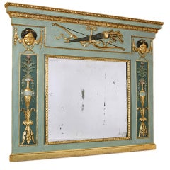 Italian Classical Painted Overmantel Mirror,  Lombardy