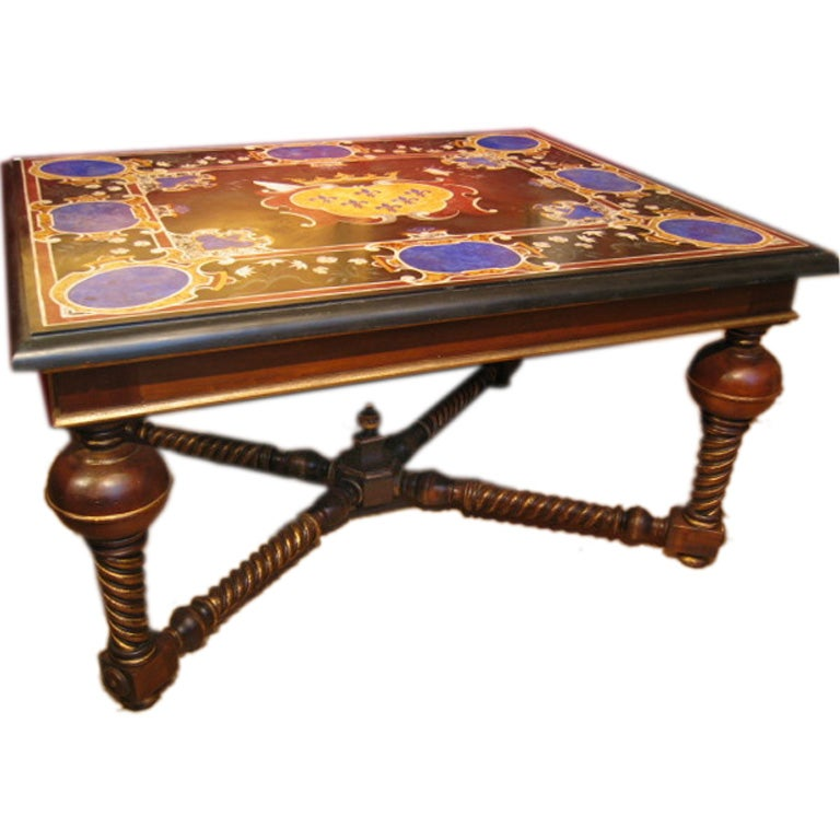 French Connection Gunmetal Coffee Table: Italian Scagliola Table Top With Farnese Coat Of Arms At