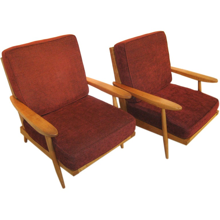 Pair Of George Nakashima Cherry Spindle Back Arm Chairs At