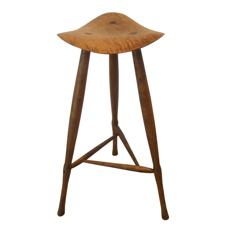 Sculpted Walnut Stool By Wharton Esherick At 1stdibs