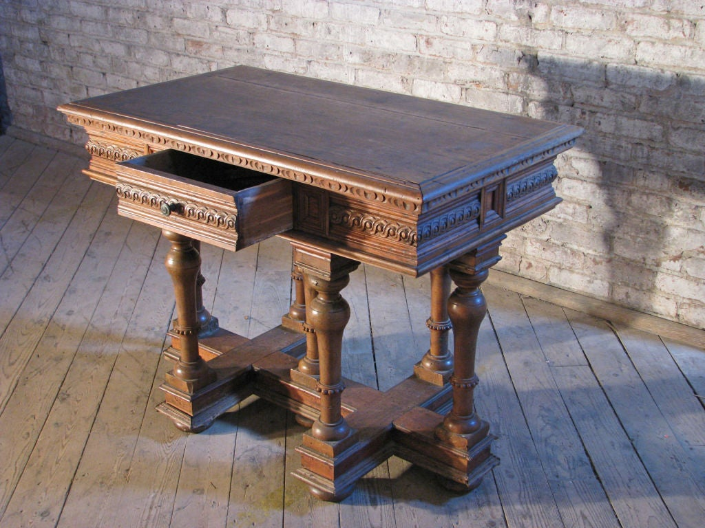 18th Century and Earlier French `19th century Renaissance style Cross Lorraine small Walnut center Table For Sale