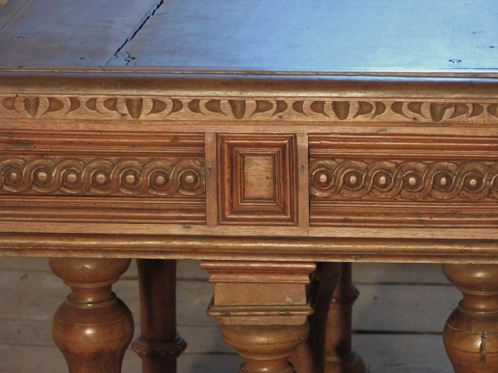 French `19th century Renaissance style Cross Lorraine small Walnut center Table For Sale 1