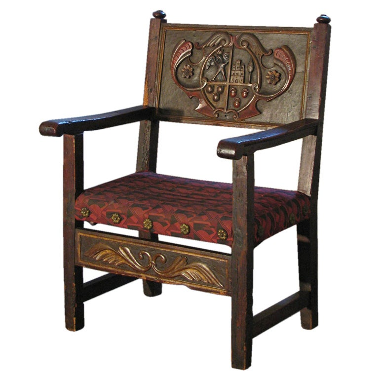 Spanish baroque armorial armchair at 1stdibs for Spanish baroque furniture