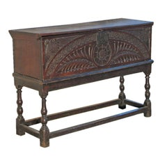 Early English oak coffer on stand
