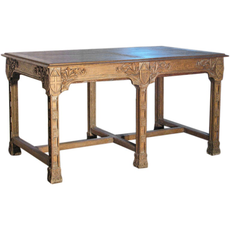 19th century Gothic Revival Center Table in the manner of Pugin