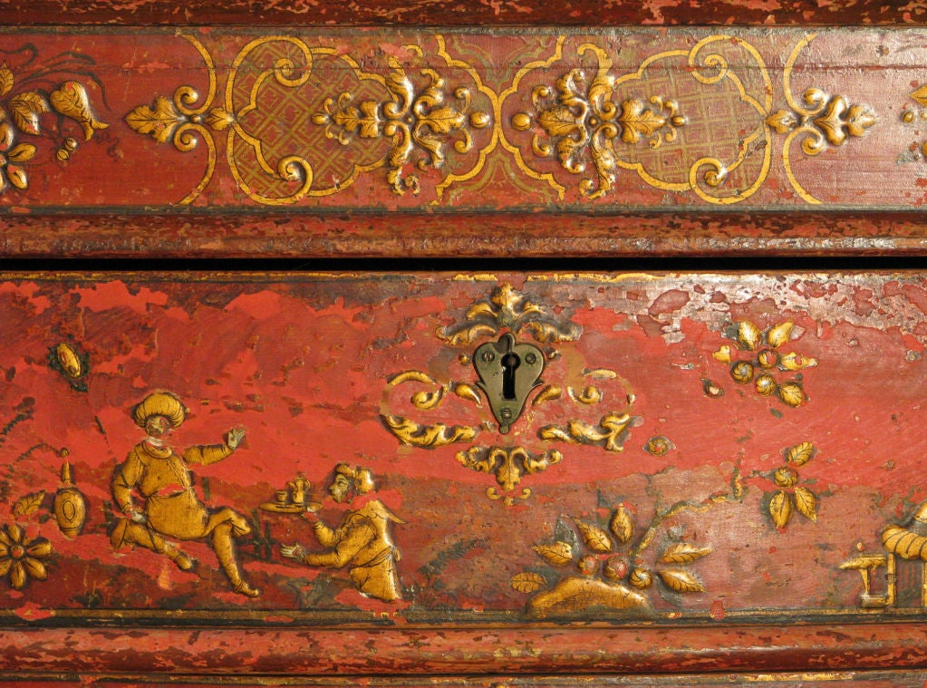 Early 18th Century Venetian Baroque Chinoiserie Painted