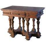 French `19th century Renaissance style Cross Lorraine small Walnut center Table