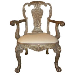 English George I style Silvered Armchair, after a design by William Kent