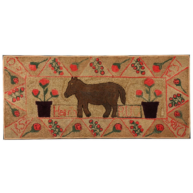 """Hooked """"Hearth Rug"""" Of A Horse At 1stdibs"""