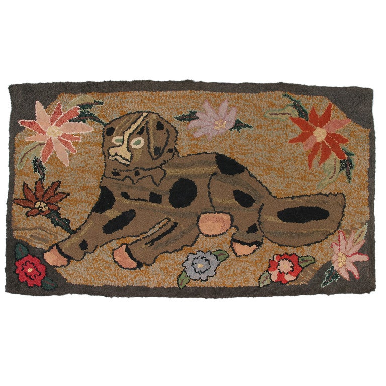Dog Hooked Rugs: Hooked Rug Of A Large Dog At 1stdibs